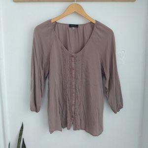 Spense button down ruffle front blouse sz L